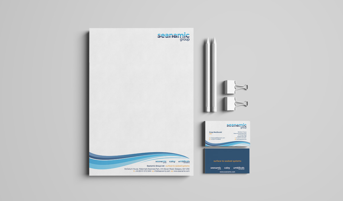 Seanamic Group letterhead and business card design