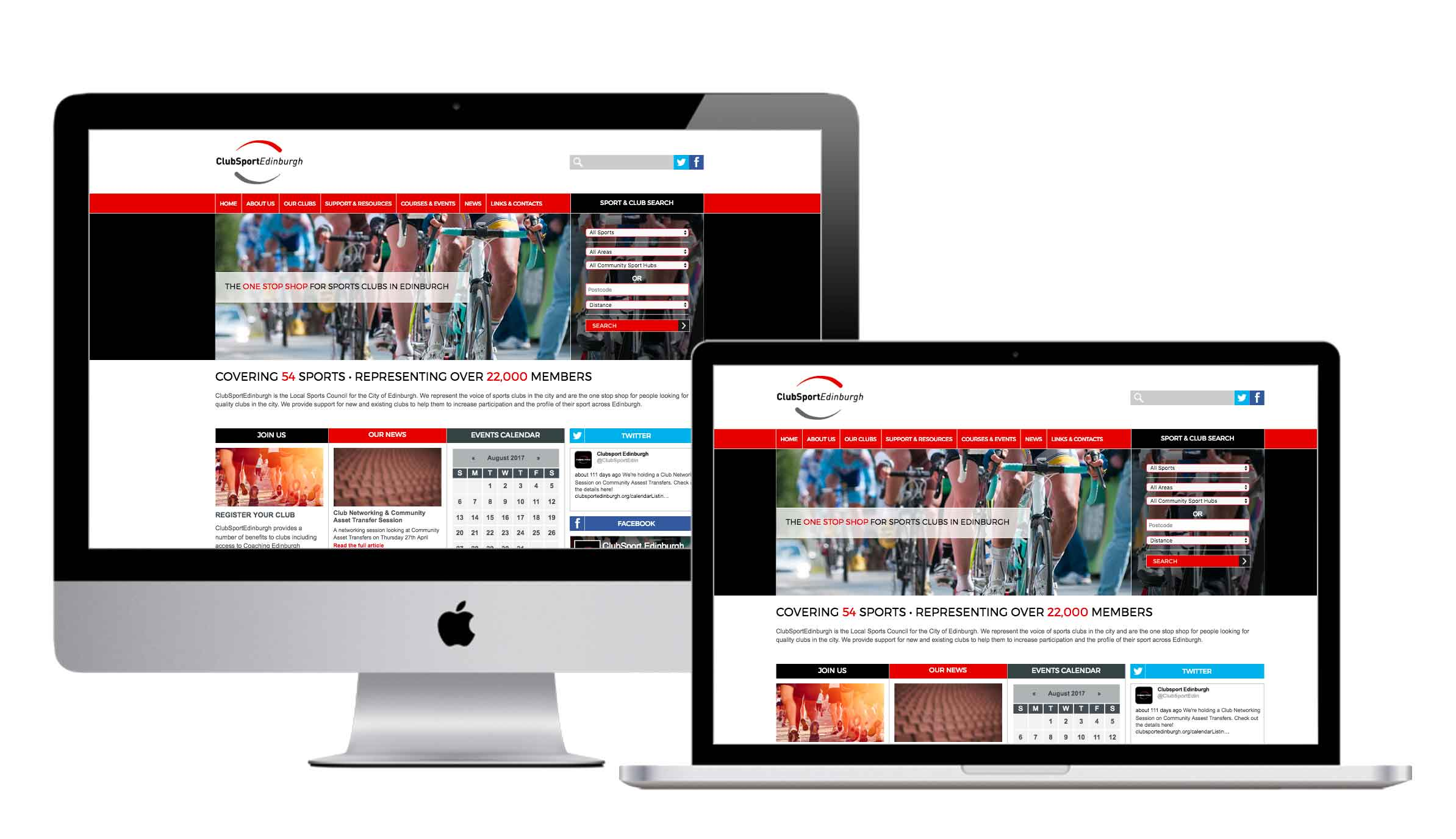 website design and development for Club Sport Edinburgh by Firesway design and digital west lothian
