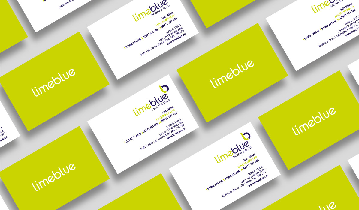 business card design for lime blue