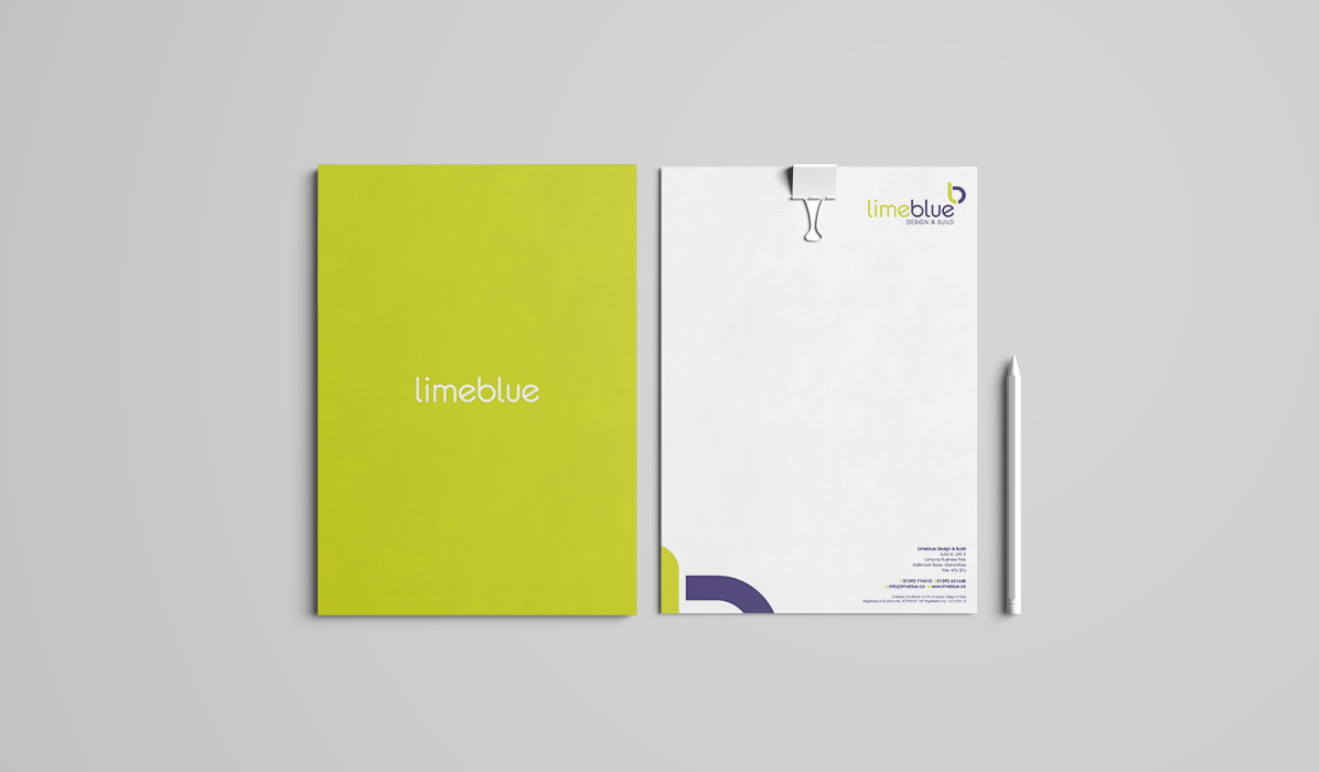 stationery letterhead design for lime blue