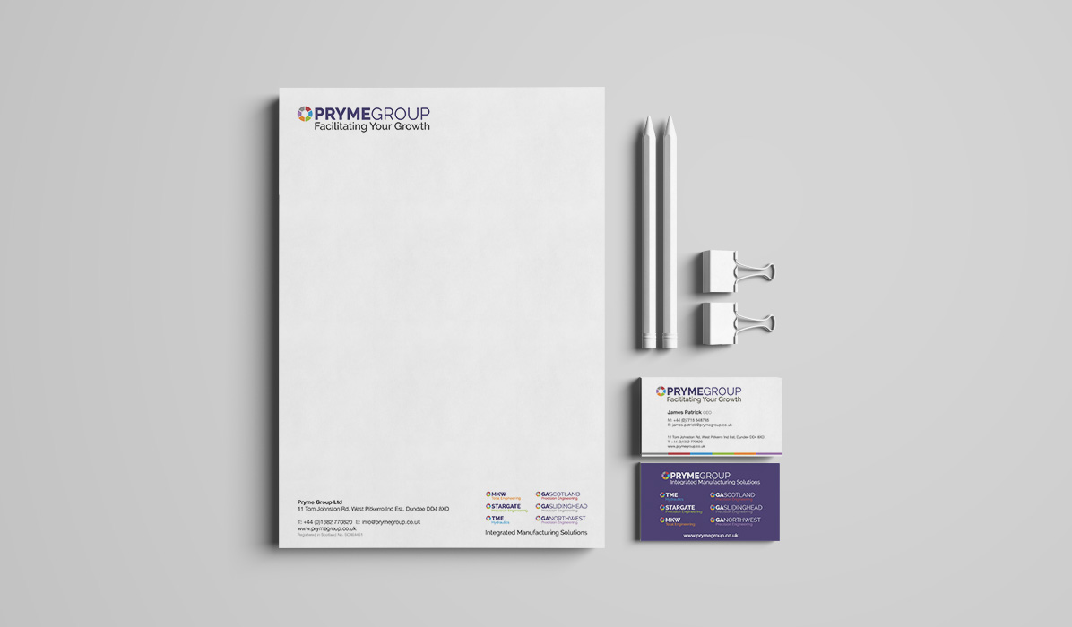 Pryme Group letterhead and business card design