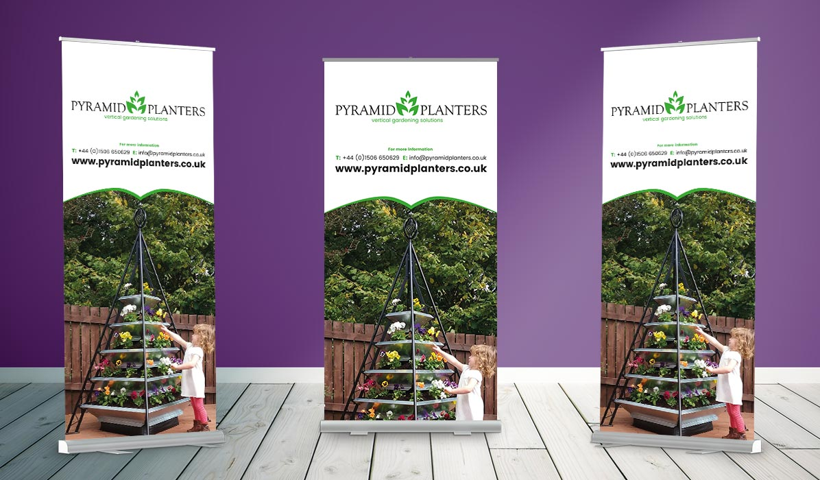 design for pyramid planters roller banner