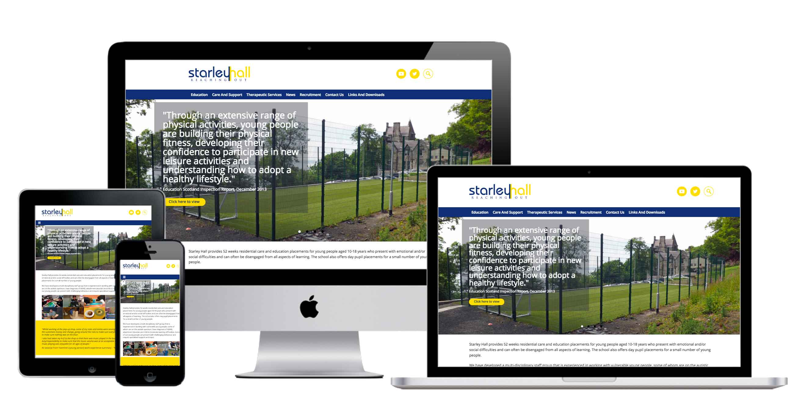 responsive website for starley hall school