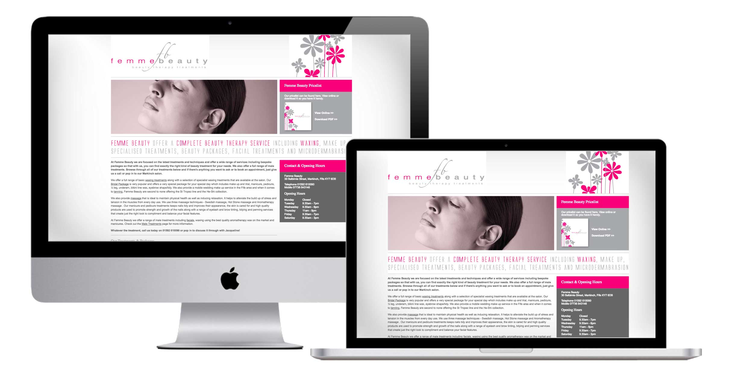 website for femme beauty by firesway design and digital